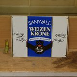 Sanwald Weizen Krone German Beer Metal Sign in Ramstein, Germany