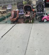 Strollers, bouncers, clothing yard sale in Barstow, California