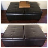 * Large brown faux leather ottoman + decor in Morris, Illinois
