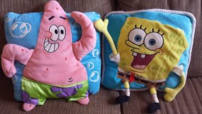 SpongeBob and Patrick decorative 3D character throw pillows in Bartlett, Illinois