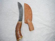 Deer Gutting Knife w/stag handle, carbonized steel blade in Yucca Valley, California
