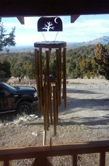 Rustic Bamboo Chime Tree,moon scene..Handcrafted in Alamogordo, New Mexico