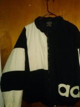 Men's Addidas black and white jacket Size L in Fort Campbell, Kentucky