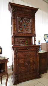 Superb Mechelen hutch with stained glass and lions' heads in Spangdahlem, Germany