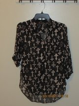 Ladies Black and White Print, Sheer Blouse with Crosses - Size Small in Glendale Heights, Illinois