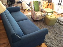 Almost New Royal Blue Couch with nail heads in Camp Lejeune, North Carolina
