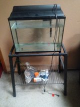 fish tank /pump included and case iron stand in Lawton, Oklahoma