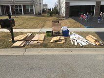 Scrap wood, chairs, and buns in Naperville, Illinois