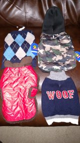 Four size small dog coats/sweaters in Naperville, Illinois
