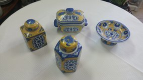 Blue, yellow ,and white porcelain decor pieces in Warner Robins, Georgia