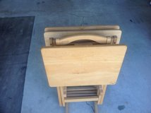 TV trays ( Oak) set of four with stand in Camp Lejeune, North Carolina