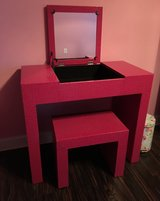 Pink textured girls vanity with and with stool in Moody AFB, Georgia