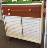 Mid Century Modern Cabinet with louvered sliding doors and a drawer in Bartlett, Illinois