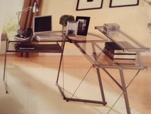 L-shaped Steel and Glass Desk and Adjustable Office Chair in Beaufort, South Carolina