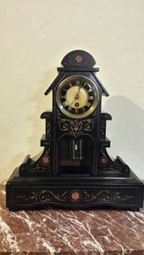 FIREPLACE CLOCK TABLE , CLOCK BLACK MARBLE. in Bamberg, Germany
