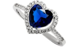 ***REDUCED***BRAND NEW***BLUE Sapphire Heart Cut Halo Ring***SZ 7 in Houston, Texas