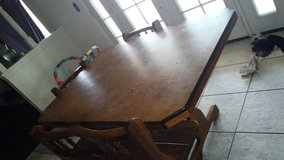 Old fashion oak table in Barstow, California
