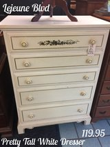 Pretty Tall White Dresser in Camp Lejeune, North Carolina