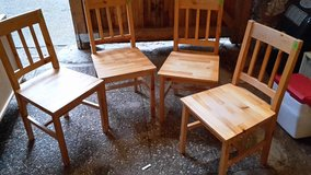 4 real wood chairs, cheap! Simple style. Laminated. Light wood color. in Ramstein, Germany