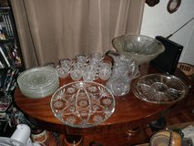 Pressed glass vintage punch bowl set in Baytown, Texas
