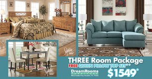 ASHLEY 3 Room Package - FREE Queen Pillow Top - Dream Rooms Furniture! in Pasadena, Texas