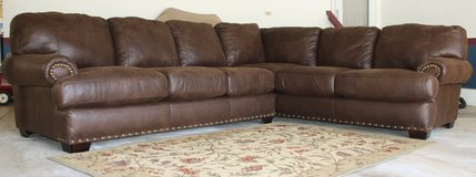 New Large Brown Faux Leather Sectional Couch in Naperville, Illinois