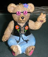 Claire's 1997 Peace Bear Ornament Figurine / Resin Hippie in Houston, Texas
