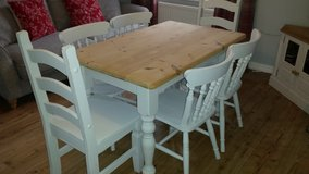 Rustic pine table with 6 chairs in Lakenheath, UK
