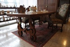 one of a kind tiger oak table with hand wrought decorations in Spangdahlem, Germany