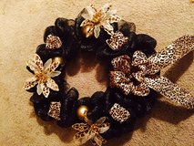 Black and gold leopard large mesh wreath in Elizabeth City, North Carolina