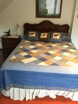 Queen size American style bedroom set with mattress and boxspring. in Ramstein, Germany