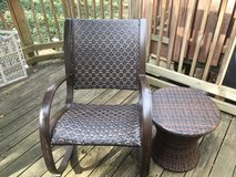 Round brown wicker side small table with chair. in Bolling AFB, DC