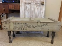 WWII artillery shell crate coffee table in Kingwood, Texas