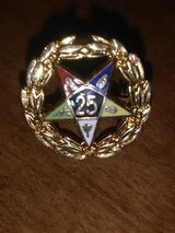 Vintage OES Order of the Eastern Star 25 Years Lapel Pin Gold Tone in Coldspring, Texas
