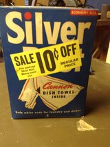 Vintage Silver Dust Detergent with towel in St. Charles, Illinois