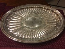 Leonard Etched Oval Silver Plate With Glass Insert in Katy, Texas
