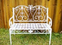 White Metal Shabby Chic Garden Bench in Kingwood, Texas