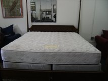 King Size Solis Mahogany Pencil Poster Bed with Mattress in Camp Lejeune, North Carolina