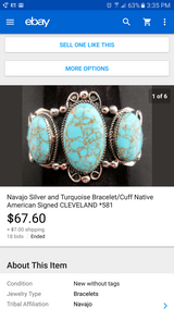 Silver and turquoise cuff bracelet in Camp Lejeune, North Carolina