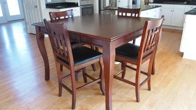Counter height Dining set & 4 chairs (chairs leather need upholstery work) in Bolingbrook, Illinois