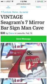 For sale Vintage Seagram's 7 sign perfect for a Bar or for the Man cave in Leesville, Louisiana