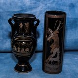 REDUCED!  TWO 24KT GOLD HANDCRAFTED GREEK VASES Made in Greece in Travis AFB, California