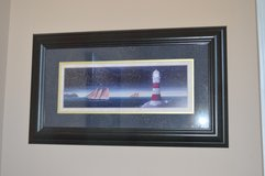 Large Lighthouse Ocean Boat Art framed painting in Perry, Georgia