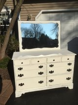 Ethan Allen dresser with mirror - old white in Naperville, Illinois