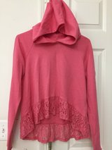 ABERCROMBIE KIDS girls pink hooded pullover sweater with floral lace hem size XL in Oswego, Illinois