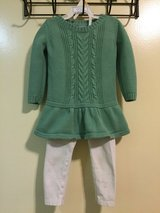 18-24 mos baby gap green sweater dress/children's place pans in Okinawa, Japan