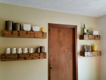 Faux barn beam floating shelves/ fireplace mantle in Chicago, Illinois
