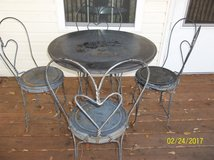 WROUGHT IRON PATIO TABLE WITH 4 HEART CHAIRS in Fort Polk, Louisiana