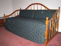 Twin day bed with trundle, mattresses, mattress covers, bedspread, pillow forms and covers in Ramstein, Germany