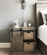 Wood sliding barn door end table night stand in Charleston, South Carolina